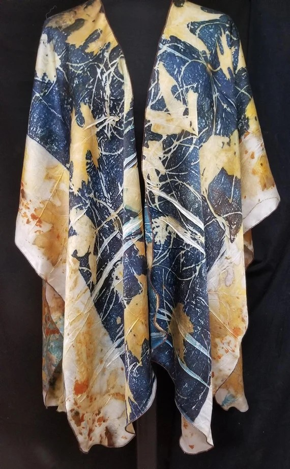 Silk Shawl,Ruana,Wrap,Cape,Luxurious Blue Charmeuse,Ecoprinted with Leaves by Artist,Handcrafted, Slow Fashion,Fits All Sizes,FREE Ship USA