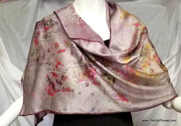 "Luxurious Ecoprinted Silk Wrap, Pale Purple, greens and golds design from Natural Dyes and Plants, Sustainable Art By artist, 20"" x 62"""