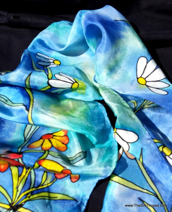 """Silk Scarf with Daises, Coneflowers, Indian Blanket Flowers, Original Hand Painted Silk Flower Art by Artist, 8"""" x 54"""" OOAK, Free USA ship"""