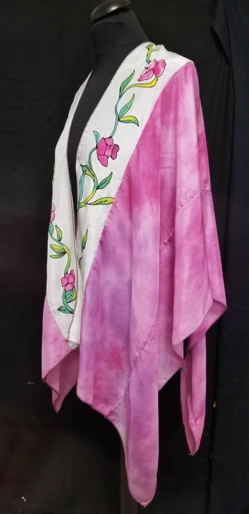Hand Painted Silk Wrap, 2 Tone Flowers in Purple, Green and White. Handcrafted & Designed By Artist, Ruana, Fits All Sizes, FREE Ship USA