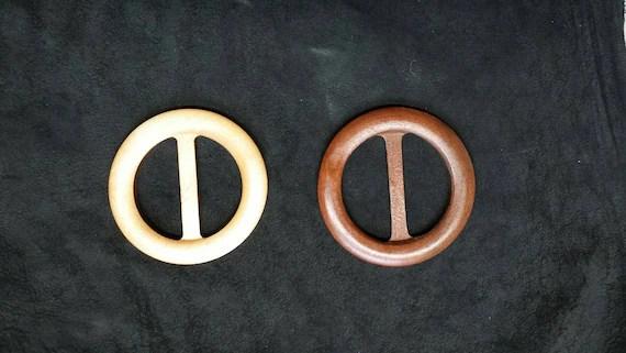 """Wood Scarf Slide, Shawl Clip, Handcrafted, Hand sanded for smoothness, 3"""" diameter, Dark or Light Wood Finish, Belt Buckle, Belt Slide"""