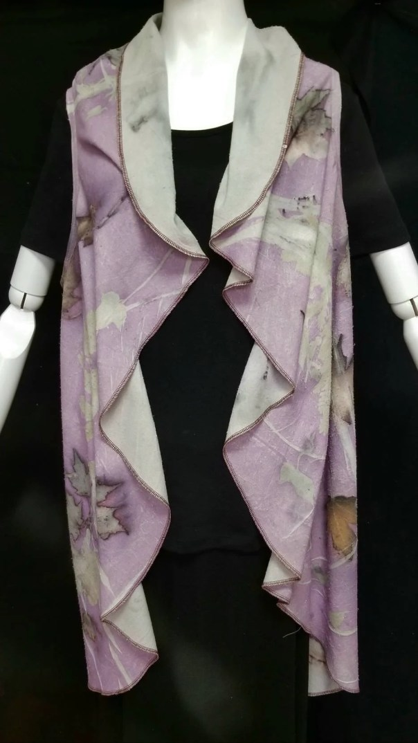 Purple Waterfall Vest, Ecoprinted, Flattering Hand Crafted Design,Sustainable Art,Natural Designs from Nature, Fits All Sizes, Free US ship