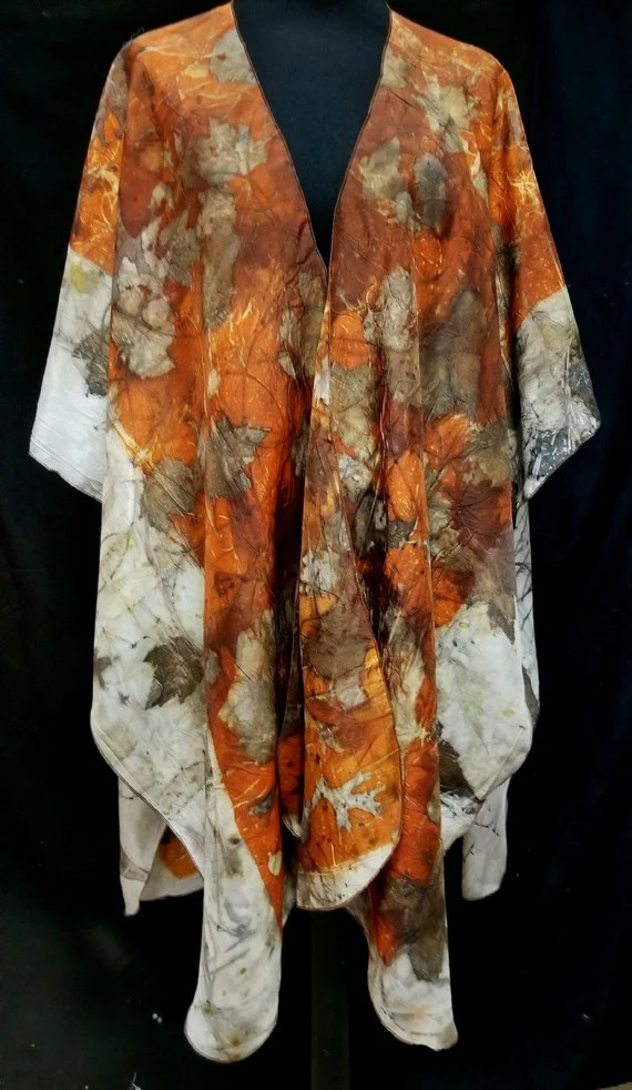 Silk Ruana,Wrap,Cape, Shawl,Rich Pumpkin Spice, Ecoprinted with Leaves by Artist,Handcrafted, Slow Fashion,Fits All Sizes,FREE Ship USA