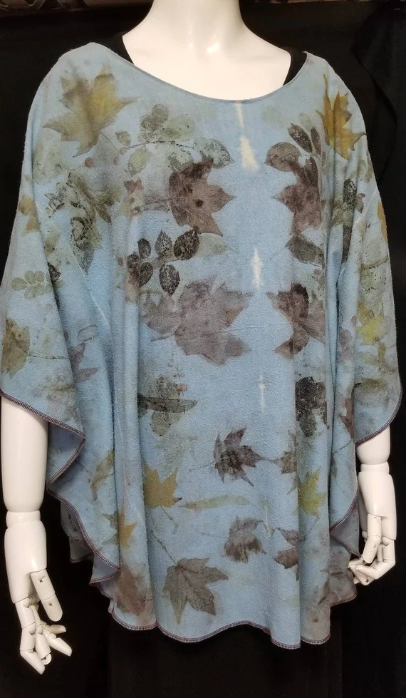 Ecoprinted Tunic from Nature, Poncho, Blue, Hand Crafted By Artist, Silk Noil, Fits All Sizes, Natural Designs Maple & Rose, Free USA ship