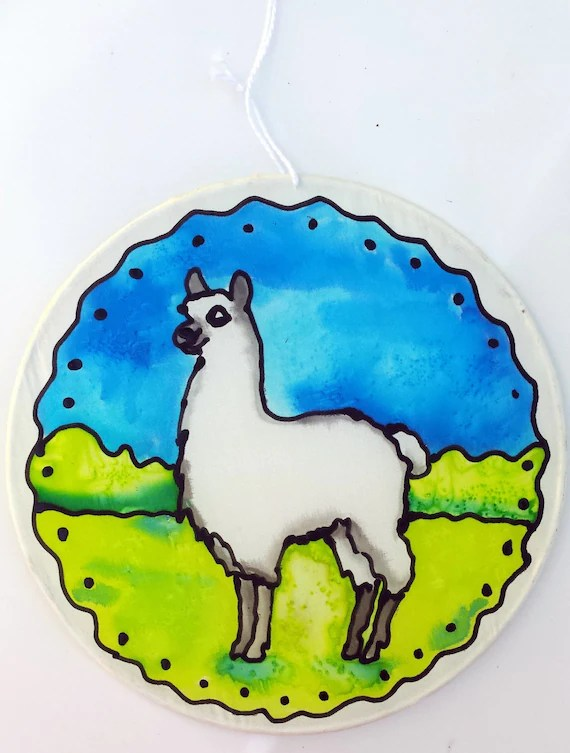"Alpaca, llama Silk Suncatcher, hand painted silk art, 6"" diameter sun catcher by artist, stained glass look, window art, wall decor"