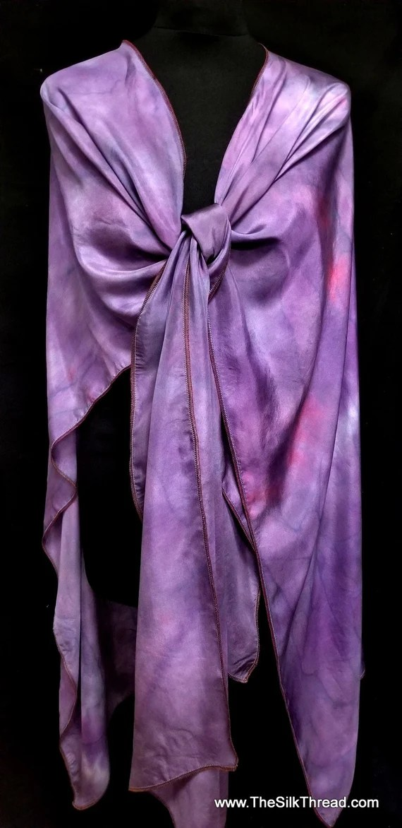 Beautiful Silk Ruana, Rich Purple Design by Artist, Shawl, Wrap,Hand dyed, Handcrafted in NC, Fits All Sizes, One of a Kind, FREE Ship USA