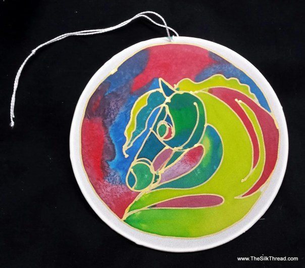 "Horse Silk Suncatcher, whimsical hand painted silk art, 6"" diameter sun catcher, stained glass look, window art, wall decor by artist"