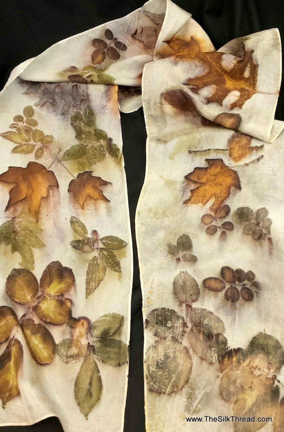 "Ecoprinted Silk Scarf, All Natural Design with rose, maple & oaks by Artist, Wallhanging, sustainable art 8"" x 72"" 127C, Free USA shipping"