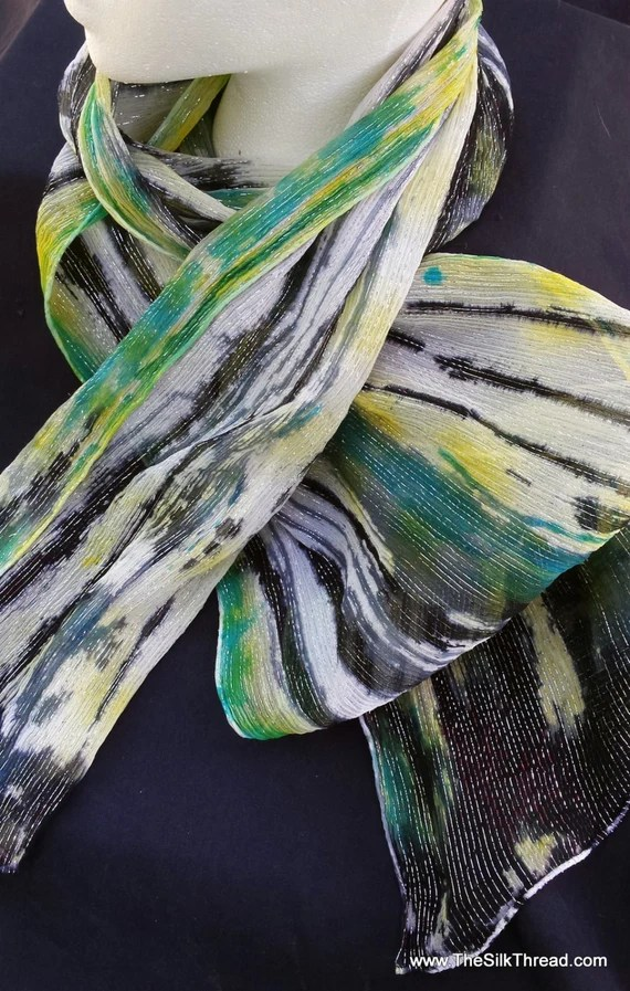 """Silk scarf with silver threads, Hand painted abstract designs of black, yellow and green by artist,  10"""" x 60"""" Original silk art, USA"""