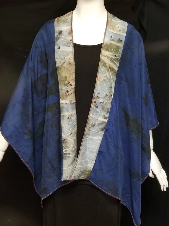 Ecoprinted Silk Wrap, 2 Tone Blue, Organic Leaf Designs of Maple, Pecan and Rose, Created By Artist, Ruana, Fits All Sizes, FREE Ship USA
