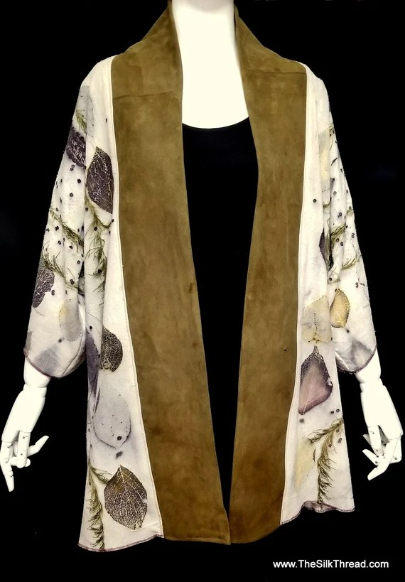 Leather & Silk Jacket, Blazer, Hand Crafted by Artist,Ecoprinted Natural Designs from Leaves, Lagenlook,Boho,Original Fashion,Eco-friendly