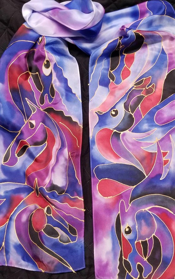 "HORSES silk scarf, 8""×72"" pure silk with hand drawn, equine art by artist, Beautiful, bold multi-colored horses, horse art,free US ship"