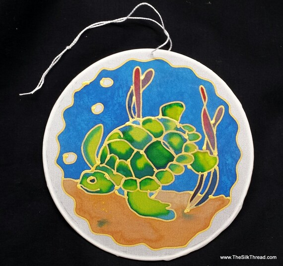 "Sea Turtle Silk Suncatcher, whimsical hand painted silk art, 6"" diameter sun catcher, stained glass look, window art, wall decor by artist"