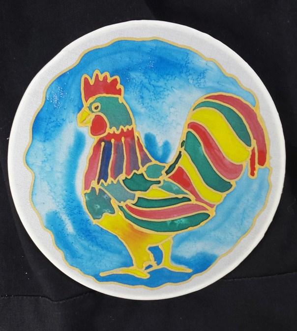 "Rooster Suncatcher, Window Ornament,Original Art, Hand Painted Silk, by Artist, 6"" Diameter,Stained Glass Look,Window Decor,Wall Art,Chicken"