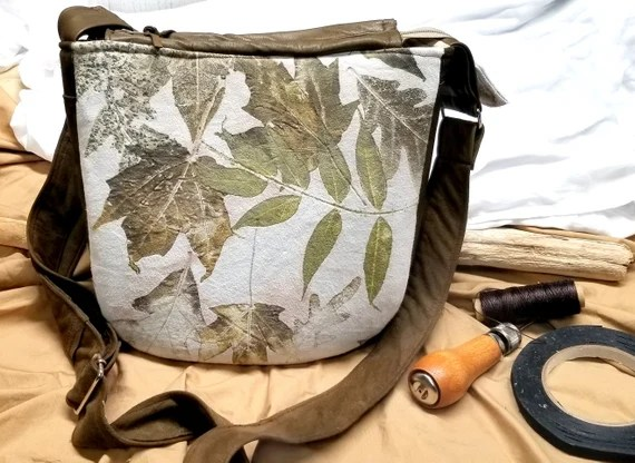 Leather Handbag, Ecoprinted Designs & Colors from Real Plants, Hand Dyed and Handcrafted by Artist, Purse, Pocketbook, Free Shipping USA