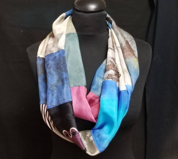 Silk Infinity Scarf. Handcrafted with Hand Painted & Upcycled Silk by Artist. Colorful, Tubular Style, Multi-colored, i16, Free ship USA