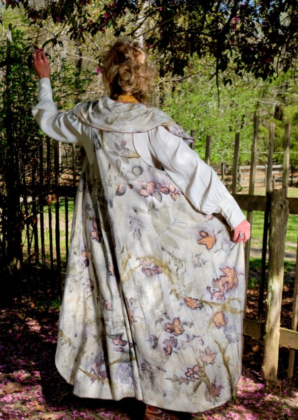 Beautiful Waterfall Vest, Cloak, Ecoprinted, Hand Crafted, Lagenlook, Natural Designs from Nature by Artist,Fits All Sizes, Free US ship