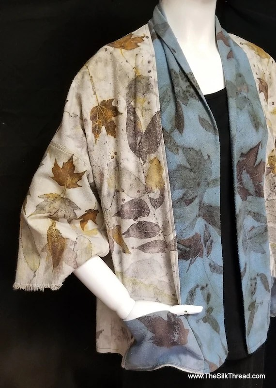 Ecoprinted Silk Jacket,Blazer, Art from Nature,Hand Crafted By Artist,2 Toned Blue & Natural, Fits all Sizes, Nature's Designs Free USA ship
