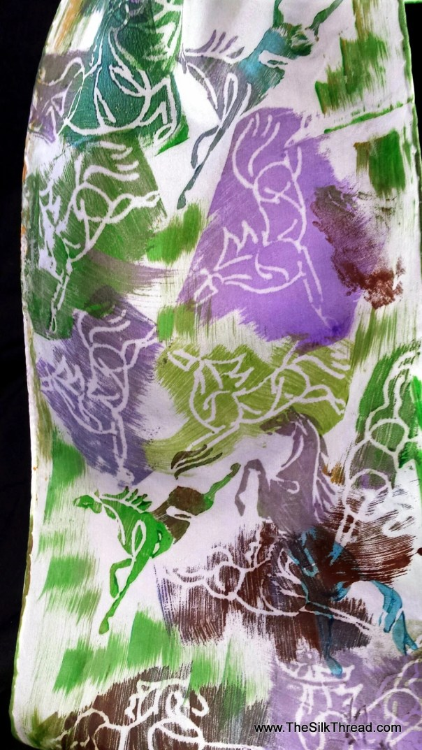 "Unusual Horse Silk Scarf, Green, Purple, Turquoise Galloping Horses, 8""x72"" Hand Carved Design by Artist, Equine Art, FREE ship USA BP28E"