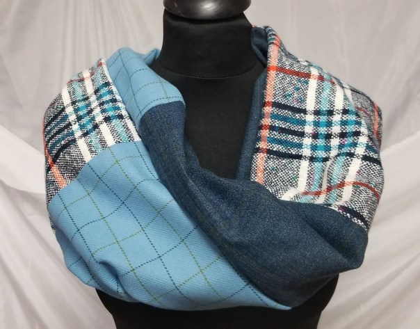 Infinity Wool Blend Scarf. Handcrafted with Shades of Blue Plaid by Artist. Cozy, Flattering Single Loop Style, Slow Fashion, Free ship USA