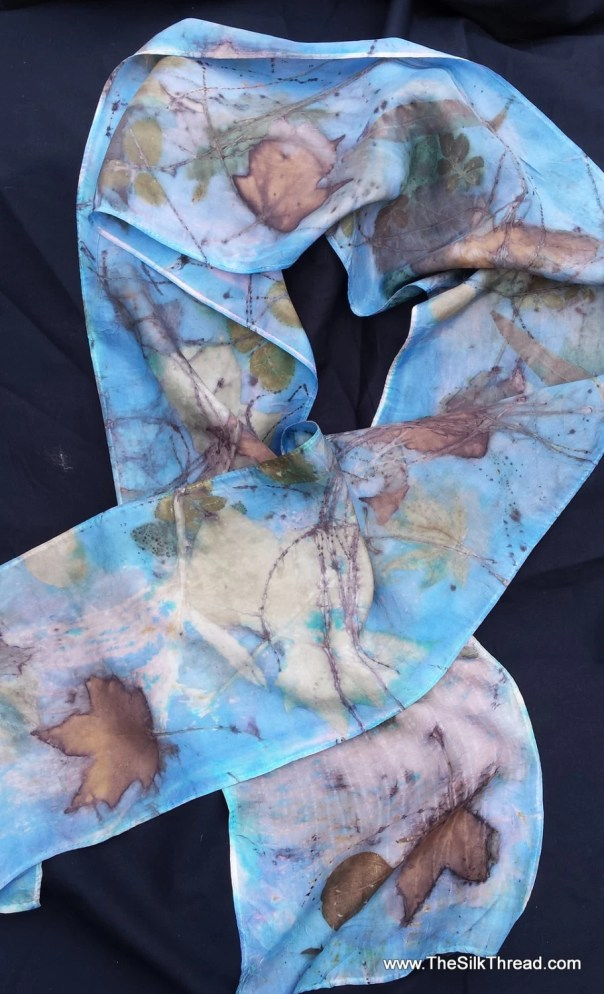 "Rich Blue Silk Scarf, unique designs & colors imprinted from actual plants, 8""x72"", Organic, all natural silk art by artist, FREE ship USA"