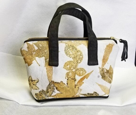 Ecoprinted Leather Handbag, Beautiful Designs & Natural Colors from Actual Plants, Handcrafted by Artist, Purse,Pocketbook,Free Shipping USA