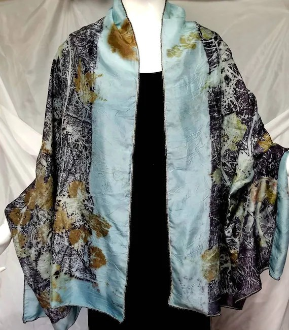 "Silk Wrap, Shawl,Soft Blue, Ecoprinted with Flowers,Leaves & Natural Dyes, Gold trim, Organic, Sustainable, Organic Art By artist, 30"" x 65"""
