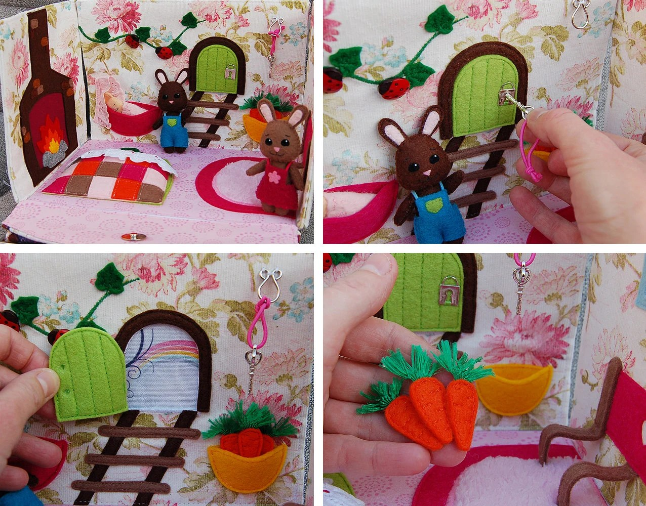 PDF Pattern & tutorial   Rabbit home / dollhouse in hand bag image 2