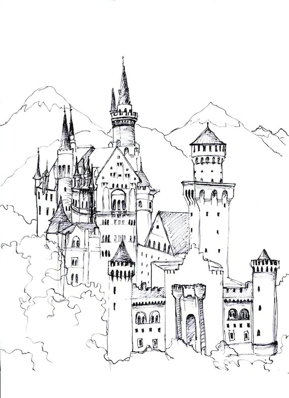 Castle Coloring Page You Download And Print And Color Etsy