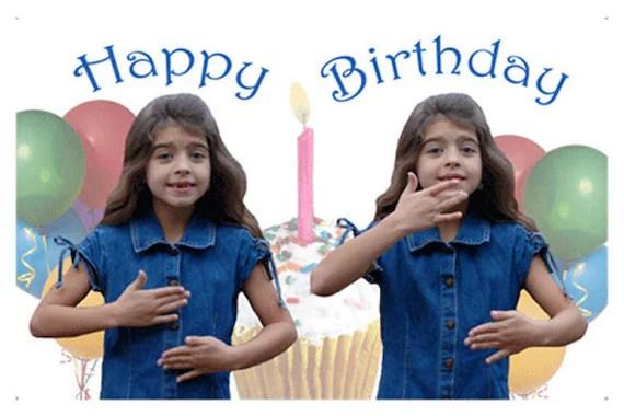 Happy Birthday In Asl Girl Greeting Card Etsy