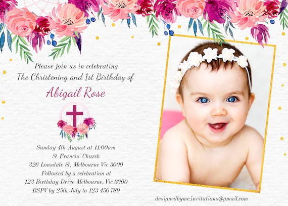 birthday and christening invitation 1st birthday invitation christening and birthday floral party invitation digital invitation