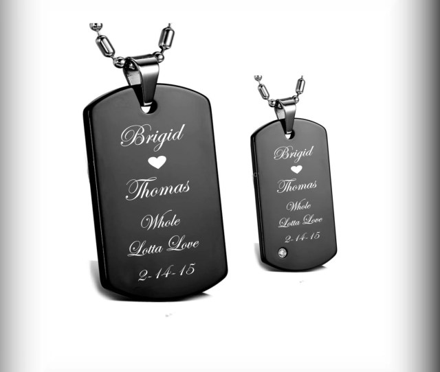 Custom Dog Tags Personalized Dog Tags High Polished Black His Hers Dog Tag Necklace Set Engraved Free Engraved Dog Tag Couples Jewelry