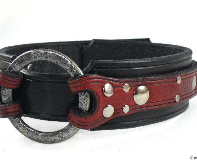 Leather Bdsm Collar Leather Slave Collar Bondage Collar For Submissive Ornate Captive Ring