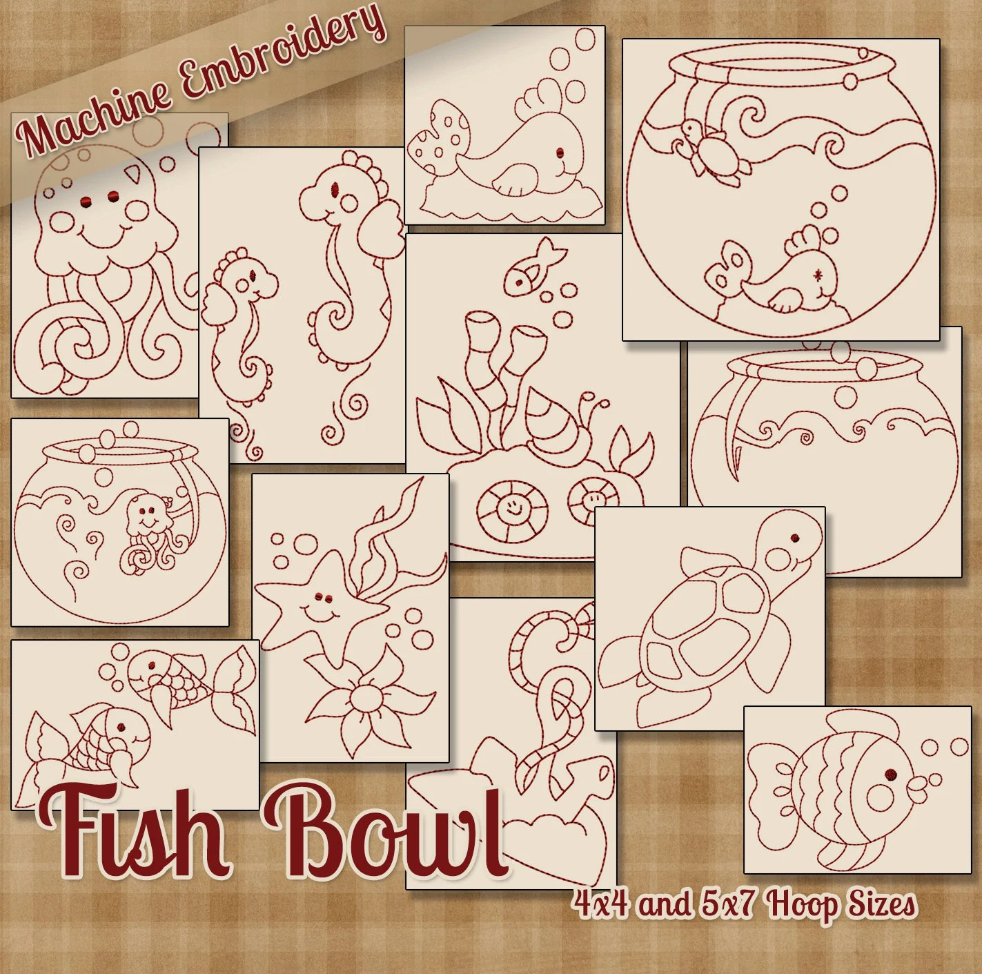 Redwork Fish Bowl Machine Embroidery Patterns Designs