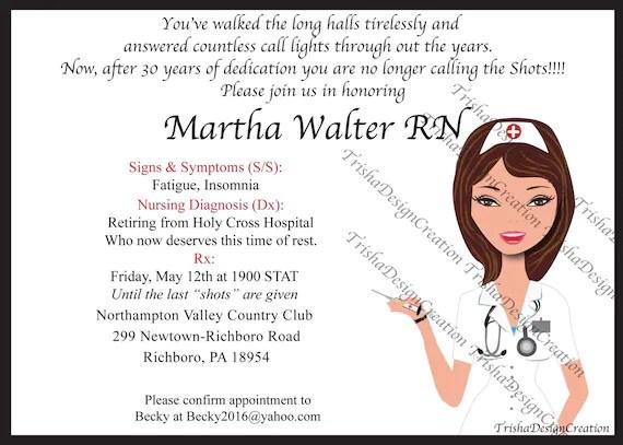 infirmiere a theme invitation depart a la retraite chaque avec enveloppes