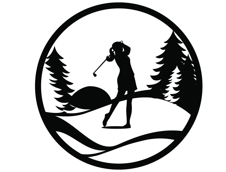 Golf Metal Wall Art Woman Golfing Sign Golf T