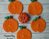 Crochet pumpkin coasters ...