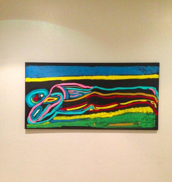 Original Oil On Canvas Painting Vibrant Colors Sunbather Etsy