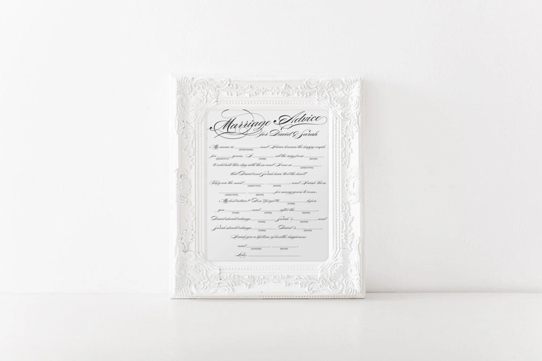 Diy Printable Marriage Advice Wedding Mad Libs Keepsake
