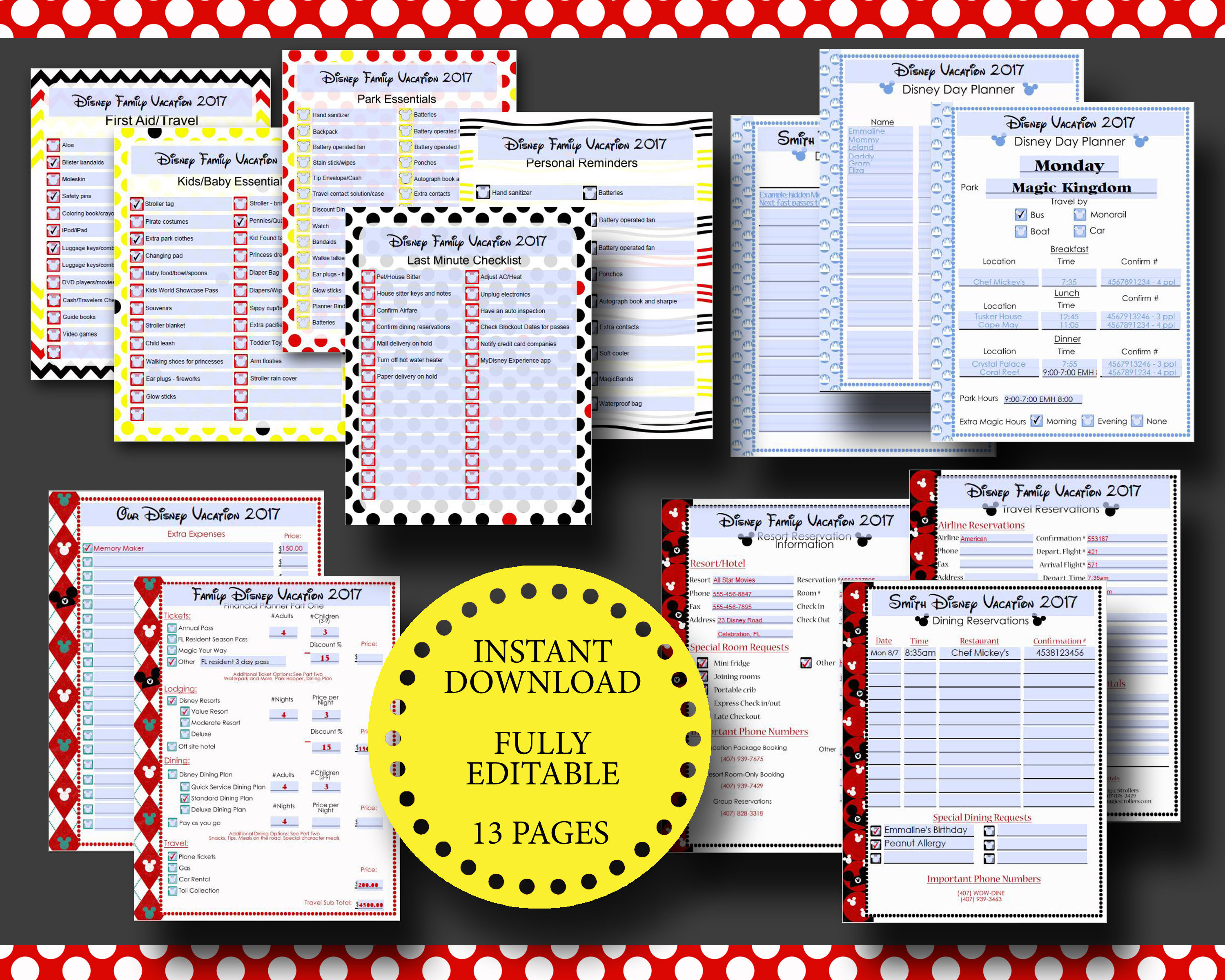 Disney World Disneyland Vacation Planner Kit Editable
