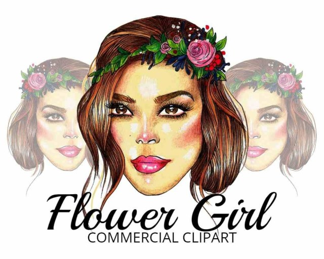 flower girl hair clip art for commercial use invites wedding business use scrapbooking logo use fashion handdrawn hand drawn
