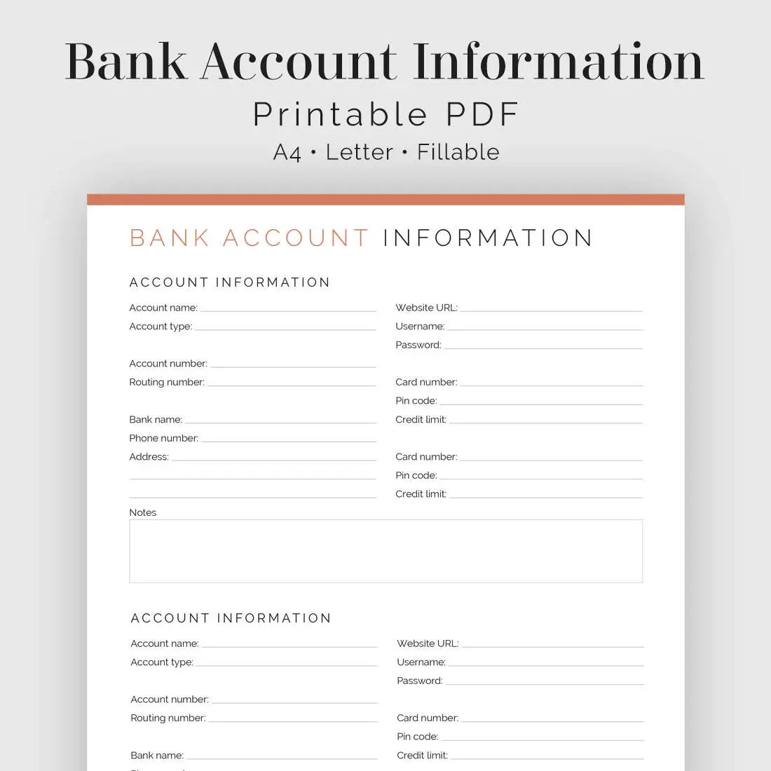 Bank Account Information Fillable Printable Finance