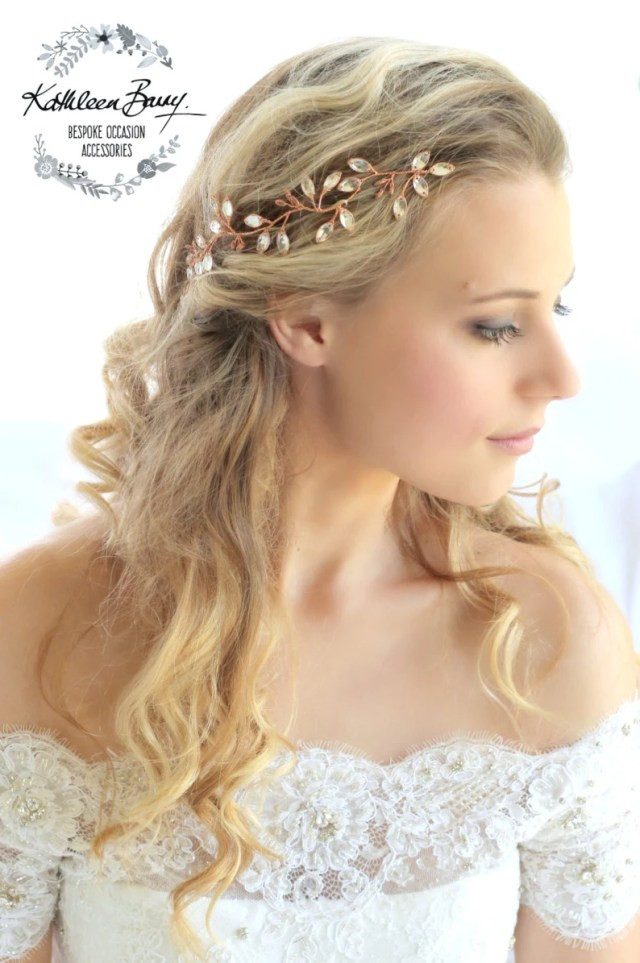 copper rhinestone leaf hair vine - gold or silver options - wedding hair accessories - bridal headpiece style: minke