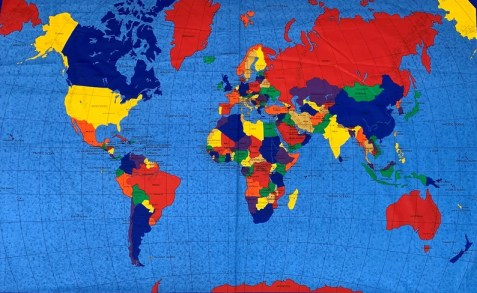 World Map Fabric Panel 58 x 36.  Bright Blue with image 0
