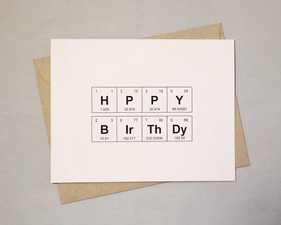 Alles Gute Zum Geburtstag Karte Periodensystem Der Elemente Etsy