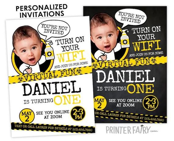 quarantine 1st birthday invitation with