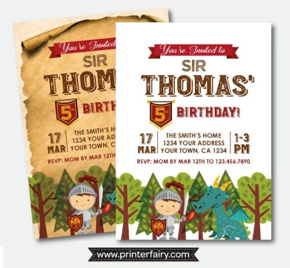 knight birthday invitation medieval