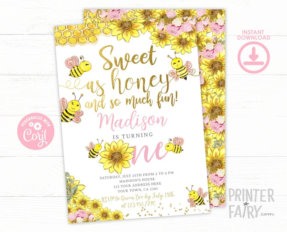 bee 1st birthday invitation editable