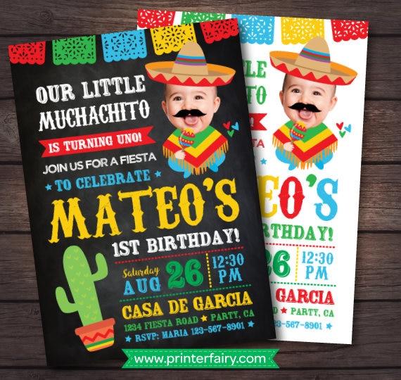 fiesta first birthday invitation fiesta 1st birthday baby muchacho invitation mexican birthday invitation digital invite 2 options