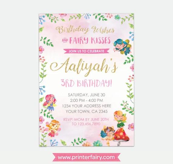 fairy birthday invitation magical